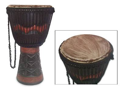 Handcrafted Wood Djembe Drum