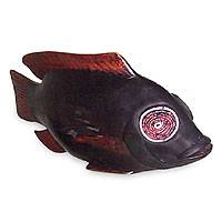Wood sculpture, 'Mudfish Charm' - Sese Wood Fish Sculpture from Africa