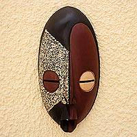 Ashanti wood mask, 'Good Service' - Ashanti Tribe Wood Mask