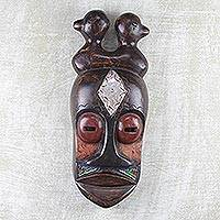 Ghanaian wood mask, 'Crowned by Ducks' - African wood mask