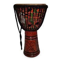 Wood djembe drum, 'Sword of Honor' - Wood djembe drum