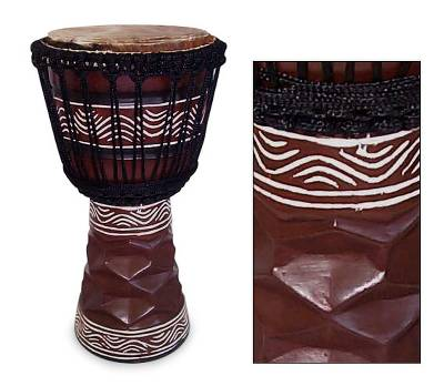 Wood djembe drum, 'Good Soul' - Hand Crafted Wood Djembe Drum