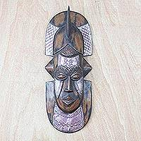 Akan wood mask, 'Warrior's Bravery' - Hand Made Wood Mask
