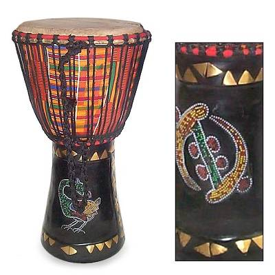 Wood djembe drum, 'Colors of Africa' - Hand Carved Djembe Drum