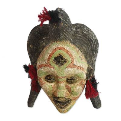 Congolese wood Africa mask, 'River Goddess' - Hand Beaded Congo Zaire Wood Mask