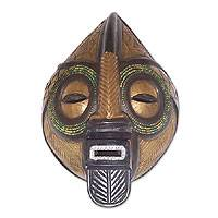 Congolese wood Africa mask, 'Power of the Patriarch' - Fair Trade Wood Mask