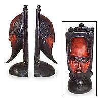 Wood bookends, 'African Scholar' (pair) - Hand Carved Wood Bookends (Pair)