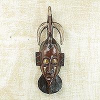 Ivoirian wood mask, 'Flamingo of Kindness' (Ghana)