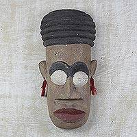 Ashanti wood mask, 'Queen and Warrior' - Hand Carved Wood Mask from Africa