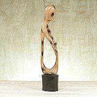 Wood sculpture, 'My Parent Protects Me' - Wood Family Sculpture