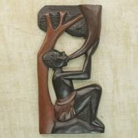 Wood wall panel, 'Peace Horn' - Hand Carved Wood Relief Panel