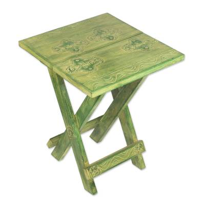 Wood folding table, 'Transformation' - Fair Trade Wood Folding Table