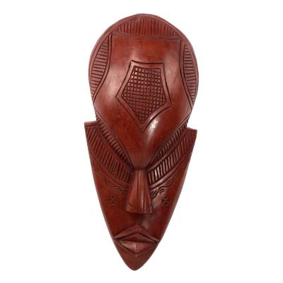 Fair Trade Red Hand Carved African Wood Mask