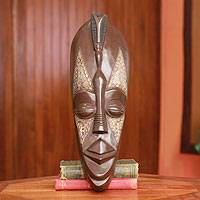 Ghanaian wood mask, 'Victory of Peace' - African wood mask