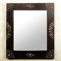 Mirror, 'In Perfect Shape' - Handcrafted Sese Wood and Brass Wall Mirror