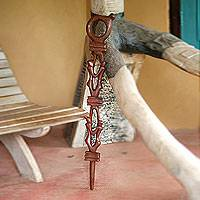 Wood walking stick, 'Determination' - Hand Crafted Wood Walking Stick