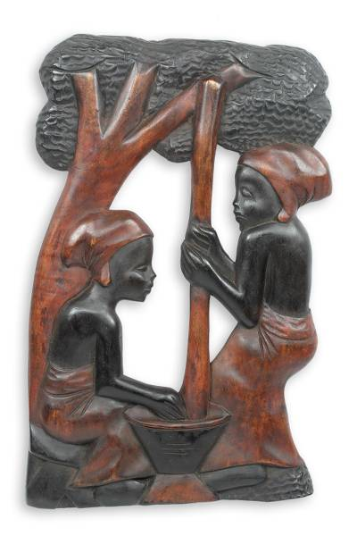 Handcarved Wood Relief Panel from Africa