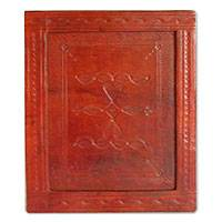 Wood and leather picture frame,