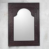 Leather mirror, 'Palace' - Leather mirror