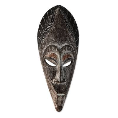African Handmade Brown and White Wood and Brass Mask
