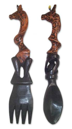 Unique Carved Brown Giraffe Sese Wood Wall Sculpture Pair