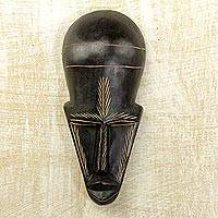 Ghanaian wood mask, 'Frighten Death Away' - African wood mask
