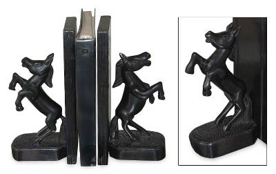 Wood bookends, 'Wild Horses' (pair) - Hand Carved Wood Horse Bookends (Pair)