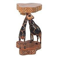 Wood accent table, 'African Giraffes' - Wood accent table