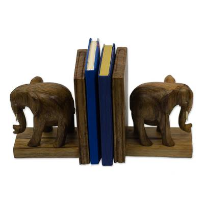Hand Carved Wood Bookends