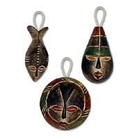 Wood ornaments Three Kings set of 3 Ghana