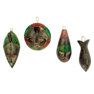 Wood ornaments, 'Shepherds' (set of 4) - Wood ornaments (Set of 4)