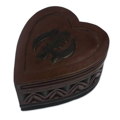 Wood jewelry box, 'African Heart' - Wood jewelry box