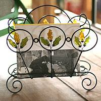 Iron and recycled glass magazine rack, 'Copper Revival' - Iron and Recycled Glass Magazine Rack