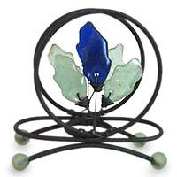 Iron and recycled glass letter holder, 'Blue Nature' - Hand Crafted Recycled Glass Letter Holder