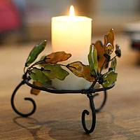 Iron and recycled glass candleholders,