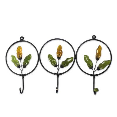 Artisan Crafted Iron and Recycled Glass Coat Rack