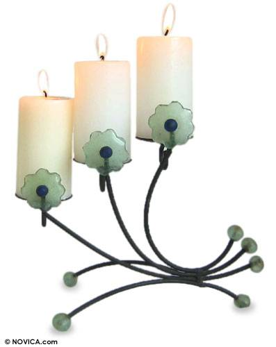 Iron and recycled glass candleholder