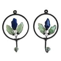 Iron and recycled glass coat hooks Blue Revival pair Ghana