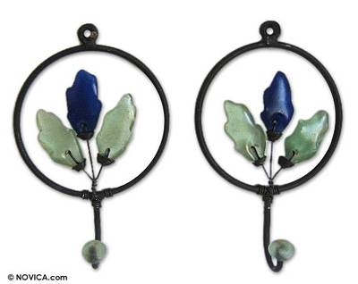 Iron and recycled glass coat hooks, 'Blue Revival' (pair) - Iron and Recycled Glass Coat Hooks (Pair)