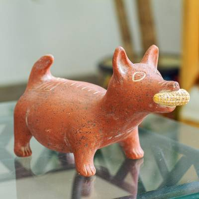 Ceramic figurine, 'Colima Dog' - Handcrafted Mexican Archaeological Ceramic Red Dog Sculpture