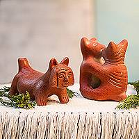 Ceramic figurines, 'Dancing Dogs' (pair) - Ceramic figurines