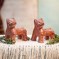 Ceramic vessels, 'Maya Jaguars' (pair) - Mexico 2 Ceramic Museum Replica Cat Vessels Handmade Pair