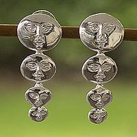 Silver drop earrings, 'Moon Goddess' - Silver drop earrings