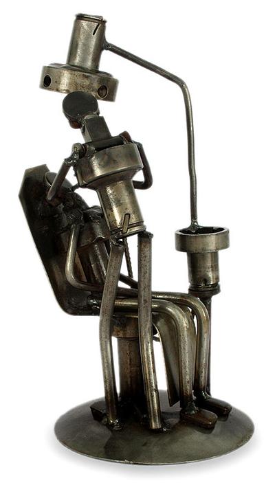 Original Iron Statuette Recyled Car Parts Mexico