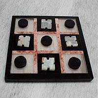 Marble tic-tac-toe set, 'Rose on Black' - Marble Tic Tac Toe Board Game from Mexico