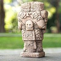 Ceramic figurine, 'Serpent Skirt' (small) - Unique Aztec Archaeology Ceramic Replica Sculpture (Small)
