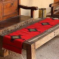 Zapotec wool table runner, Fire Walk