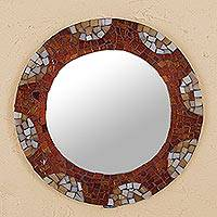 Glass mosaic wall Mirror, 'Sunset Reflections' - Golden Brown Mosaic Glass Framed Mirror