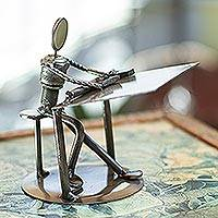 Iron statuette, 'Rustic Architect' - Recycled Metal and Auto Parts Drafting Table Sculpture