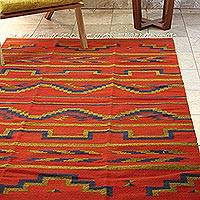Zapotec wool rug, Fire of Dawn' (4x6) - Zapotec Rug Artisan Hand Woven 4 X 6